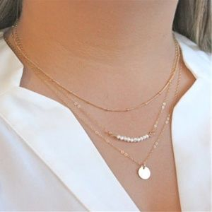 UO Minimalist Boho Indie Layered Pearl Necklace